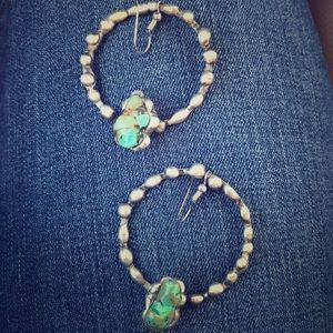 Handmade turquoise earrings.
